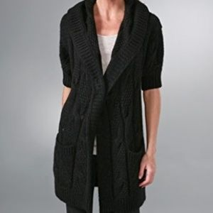 Vince Stella Charcoal Cable Knit Hooded Cardigan M